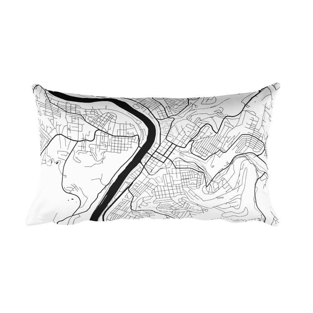 Morgantown black and white throw pillow with city map print 12x20
