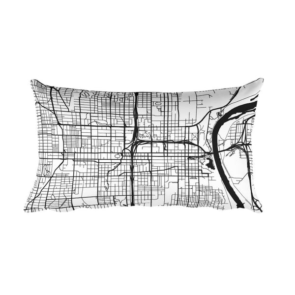 Omaha black and white throw pillow with city map print 12x20
