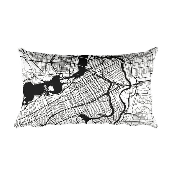 Ottawa ON black and white throw pillow with city map print 12x20