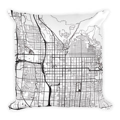 Salt Lake City black and white throw pillow with city map print 18x18