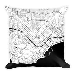 Santa Barbara black and white throw pillow with city map print 18x18