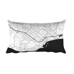 Santa Barbara black and white throw pillow with city map print 12x20