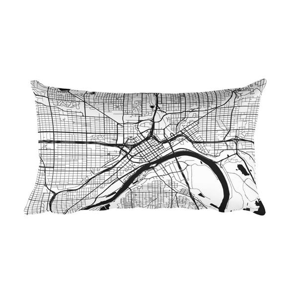 St. Paul black and white throw pillow with city map print 12x20