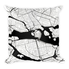Stockholm black and white throw pillow with city map print 18x18