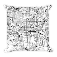 Tallahassee black and white throw pillow with city map print 18x18