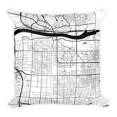 Tempe black and white throw pillow with city map print 18x18
