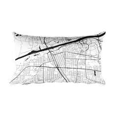 Tuscaloosa black and white throw pillow with city map print 12x20