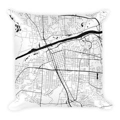 Tuscaloosa black and white throw pillow with city map print 18x18