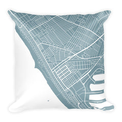 Venice Beach black and white throw pillow with city map print 18x18