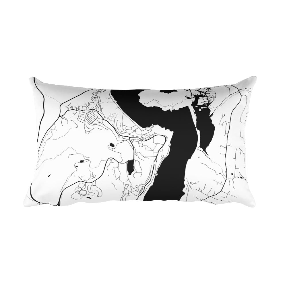 West Point black and white throw pillow with city map print 12x20