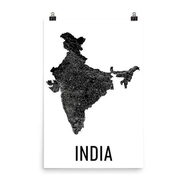 India Map, Art, Decor, Print, Poster, Wall Art From $29.99 - ModernMapArt - Modern Map Art