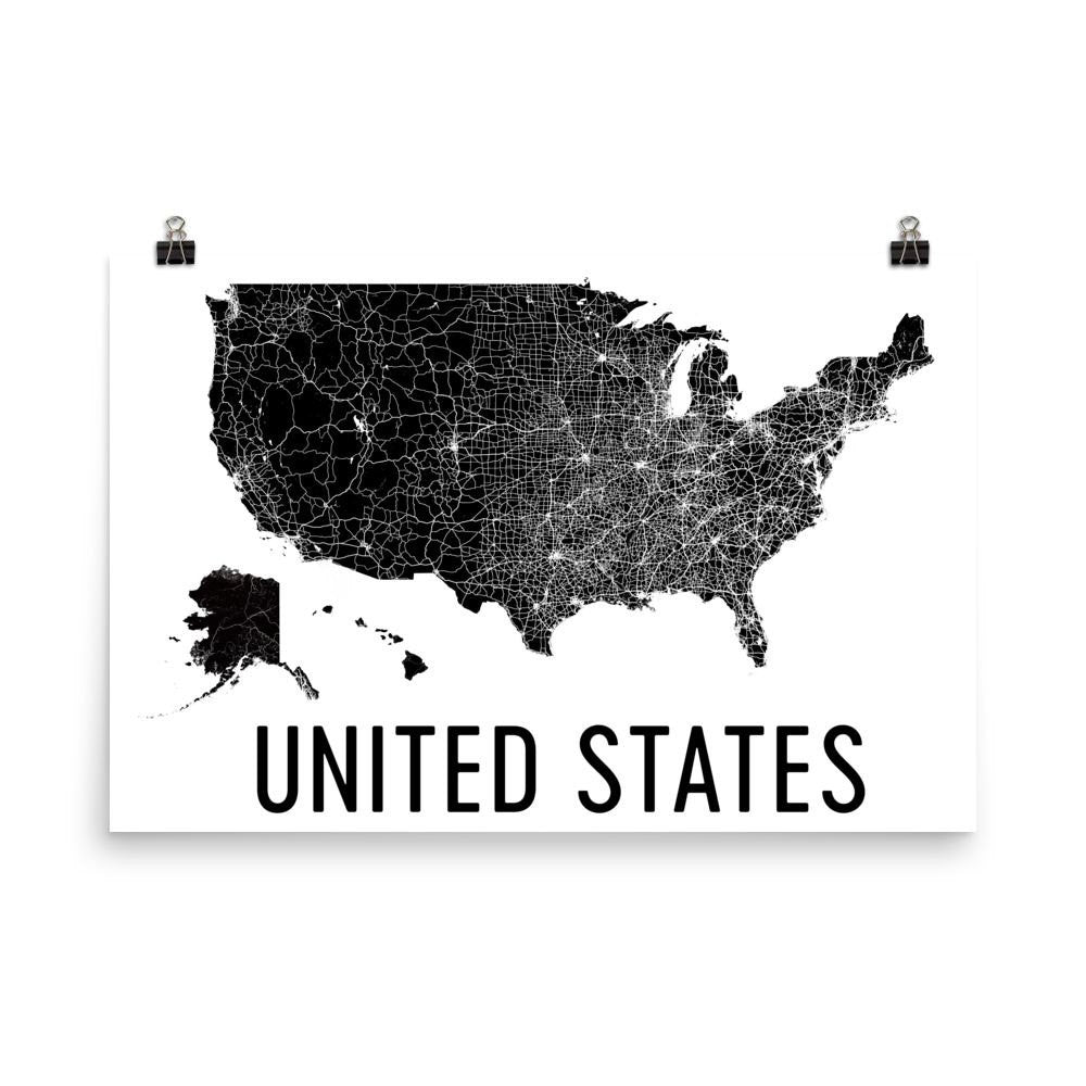 Modern Us Map.Us Map Poster Wall Print Decor By Modern Map Art