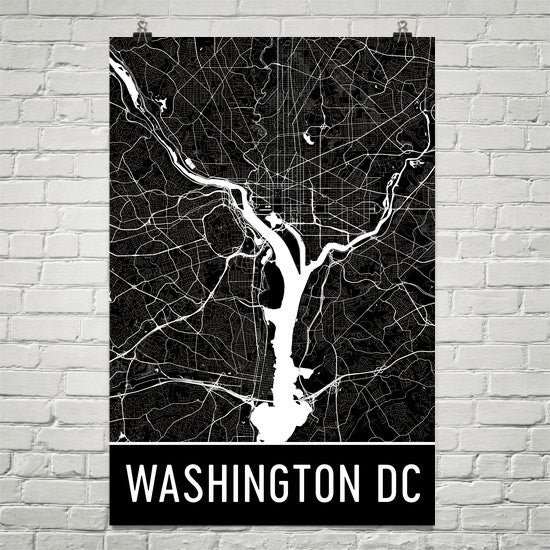 Washington DC Street Map Poster Black