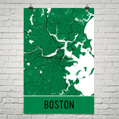 Boston MA Street Map Poster Blue