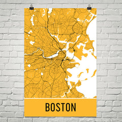 Boston MA Street Map Poster Black