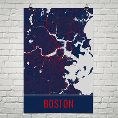 Boston MA Street Map Poster Red