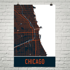 Chicago IL Street Map Poster Blue and Orange