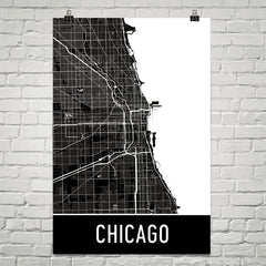 Chicago IL Street Map Poster Blue and Red