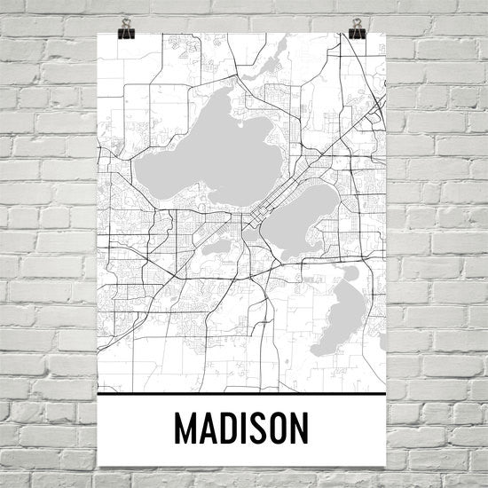 Madison WI Street Map Poster White
