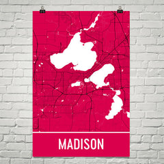 Madison WI Street Map Poster Red