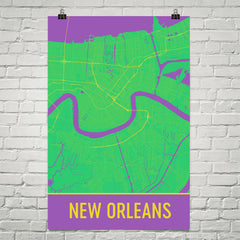New Orleans Map Street Map Poster Green