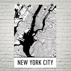 New York City NY Street Map Poster White