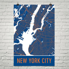 New York City NY Street Map Poster Orange