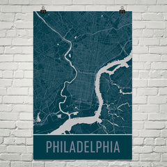 Philadelphia PA Street Map Poster Green