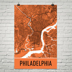 Philadelphia PA Street Map Poster Black