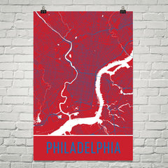 Philadelphia PA Street Map Poster Orange