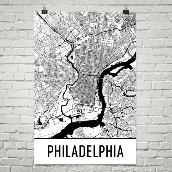 Philadelphia PA Street Map Poster White
