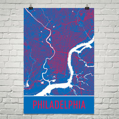 Philadelphia PA Street Map Poster Blue
