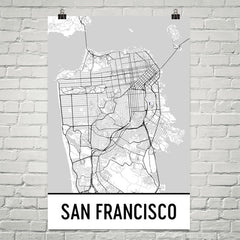 San Francisco CA Street Map Poster Gray