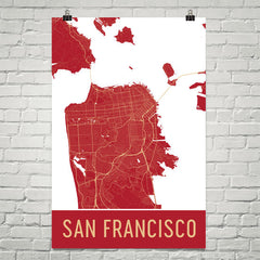 San Francisco CA Street Map Poster Orange