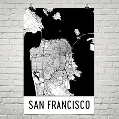 San Francisco CA Street Map Poster White