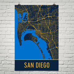 San Diego CA Street Map Poster Black
