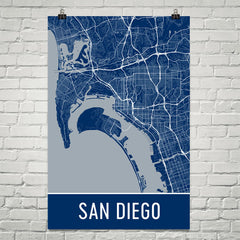 San Diego CA Street Map Poster Blue and Blue
