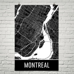Montreal QC Street Map Poster Red