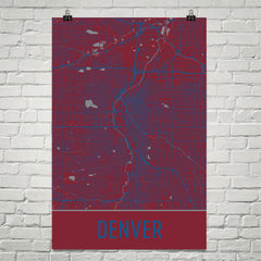 Denver CO Street Map Poster Purple