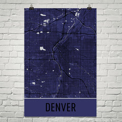 Denver CO Street Map Poster Orange