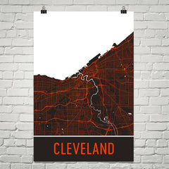 Cleveland OH Street Map Poster Brown