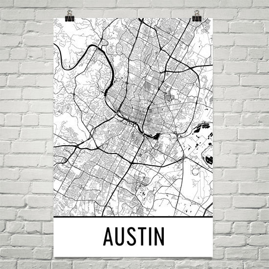 Austin Texas Street Map Poster White