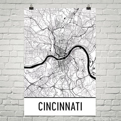 Cincinnati OH Street Map Poster White