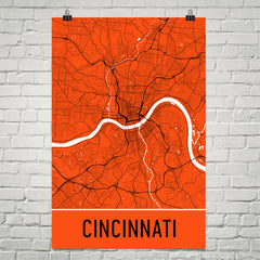 Cincinnati OH Street Map Poster Black