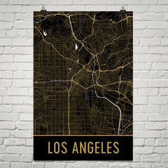 Los Angeles CA Street Map Poster Blue