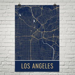 Los Angeles CA Street Map Poster Red