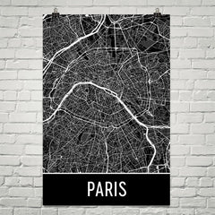 Paris France Street Map Poster Red