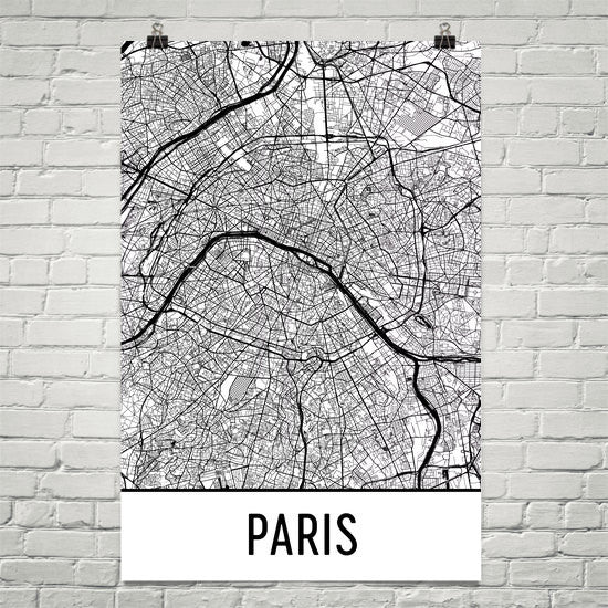 Paris France Street Map Poster White