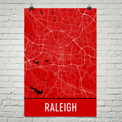 Raleigh NC Street Map Poster Black