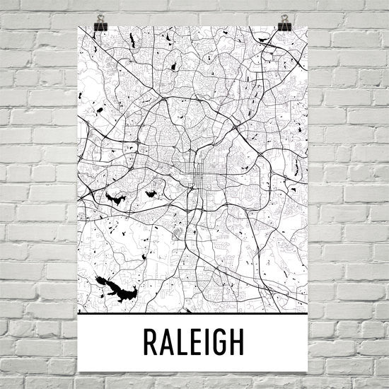 Raleigh NC Street Map Poster White